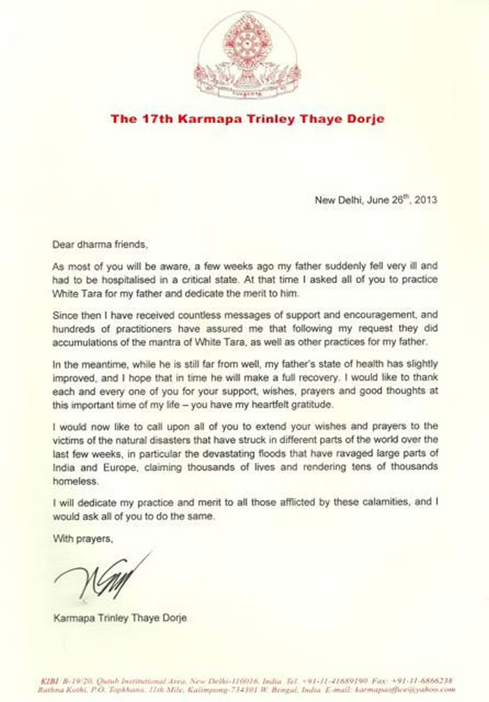 Thank You letter by H.H. Karmapa Trinley Thaye Dorje