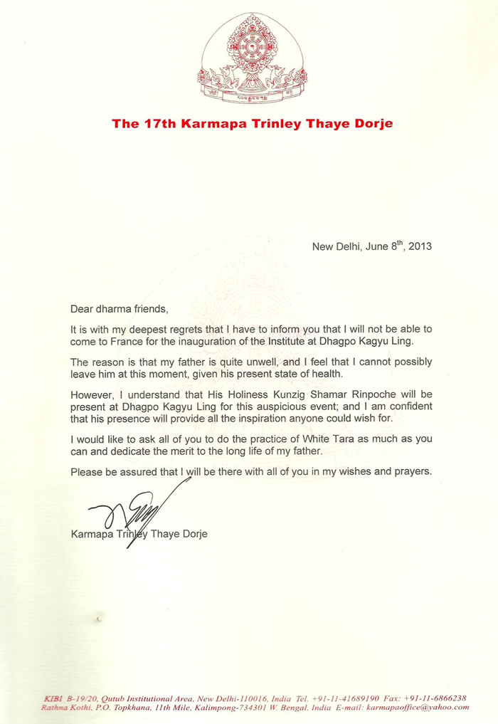 Letter about cancelation Gyalwa Karmapa visit in Europe